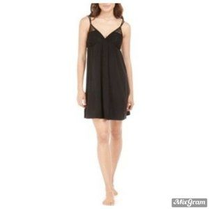 Flora Nikrooz Lace-Trim Chemise Nightgown Black